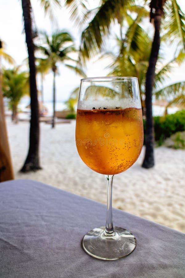 Kall coctail på en strandstång - Isla Mujeres Playa Norte royaltyfria foton