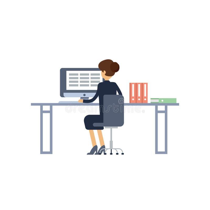 Kall design för vektorlägenhettecken på kontorsaffärskvinnan som i regeringsställning arbetar bak hennes skrivbord med den skrivb vektor illustrationer