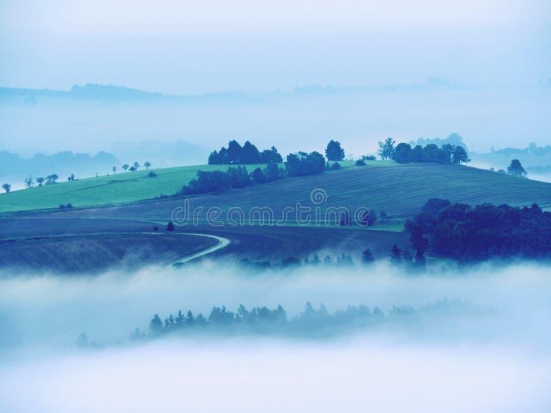 Kall dimmig blå morgon En minut för soluppgång i en härlig dal av stenigt parkerar Trädmaxima arkivbild