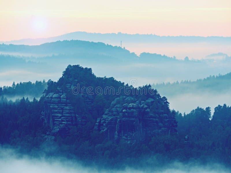 Kall dimmig blå morgon En minut för soluppgång i en härlig dal av stenigt parkerar Trädmaxima arkivfoto