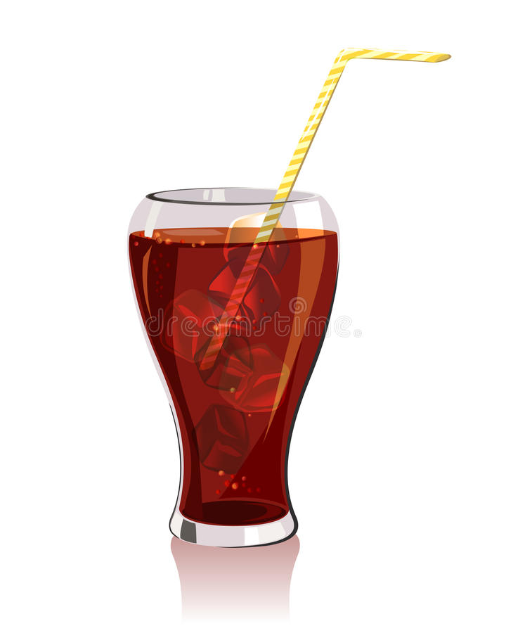 Kall drink, cola med is stock illustrationer
