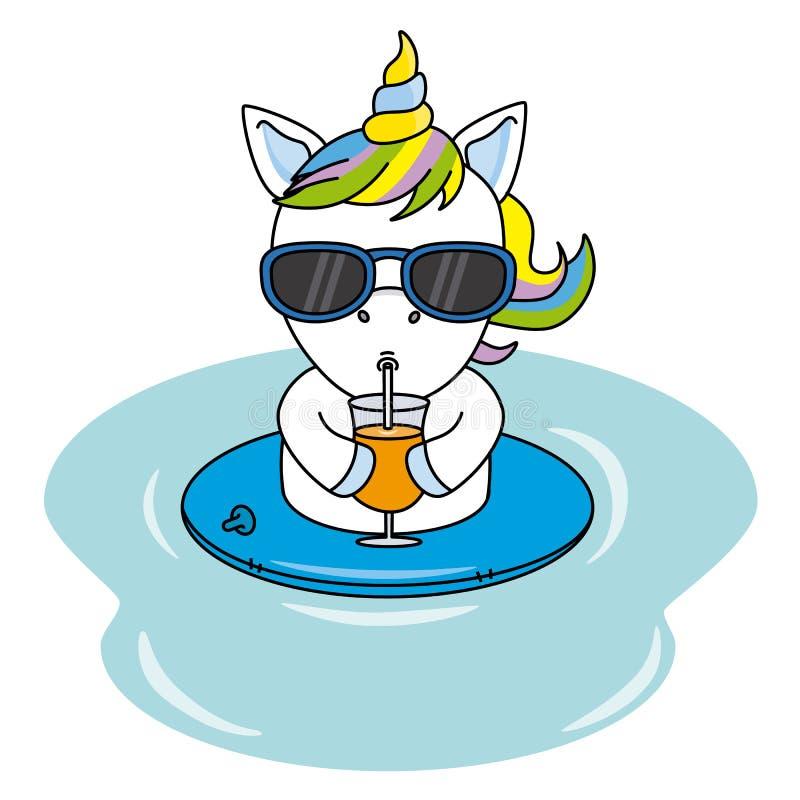 Kall enhörning med solglasögon och att dricka en fruktsaft royaltyfri illustrationer