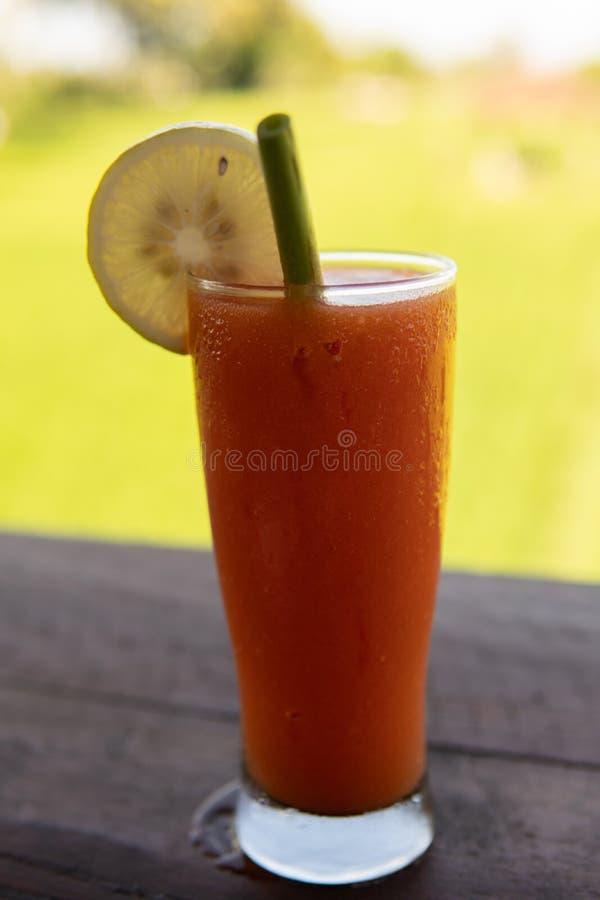 Kall f?rnyande fruktsaftdrink f?r is med en frodig gr?n bakgrund royaltyfri bild
