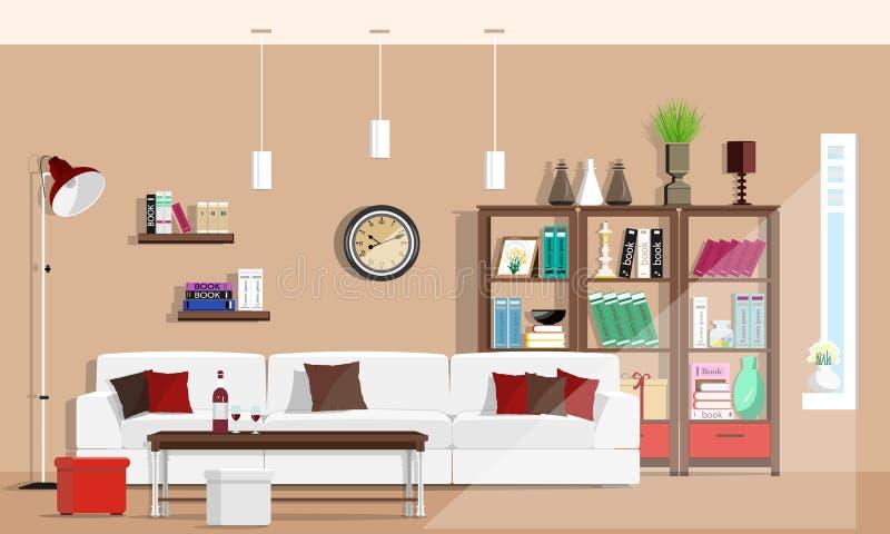 Kall grafisk vardagsruminredesign med möblemang: soffa stolar, bokhylla, tabell, lampor Plan stil royaltyfri illustrationer