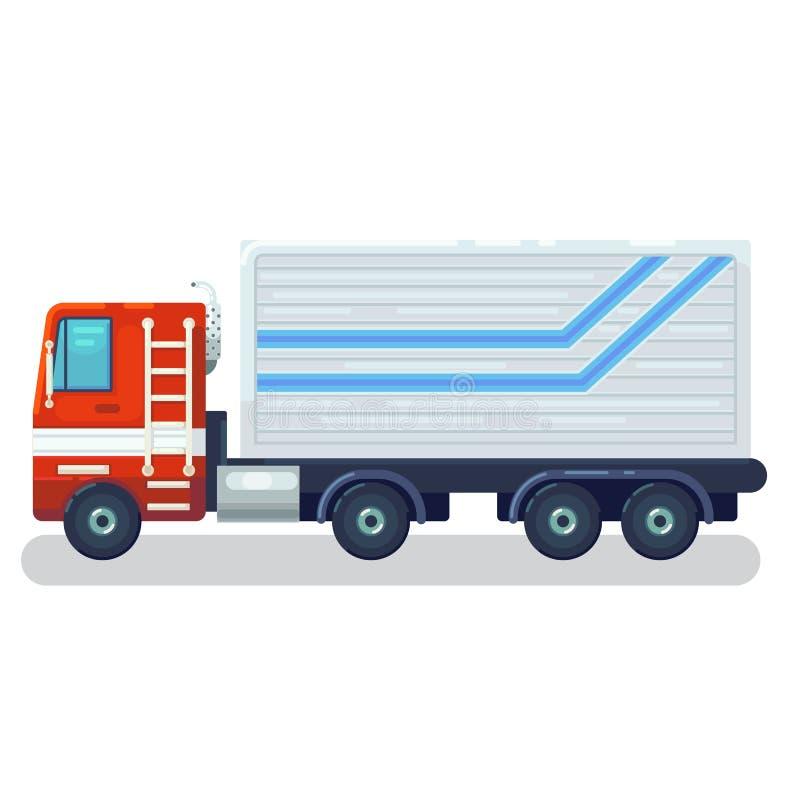Kall halv-släp längsgående stödbjälke och plana symboler för rengöringsduk för transport för bogsera motor för näslastbilar eller vektor illustrationer