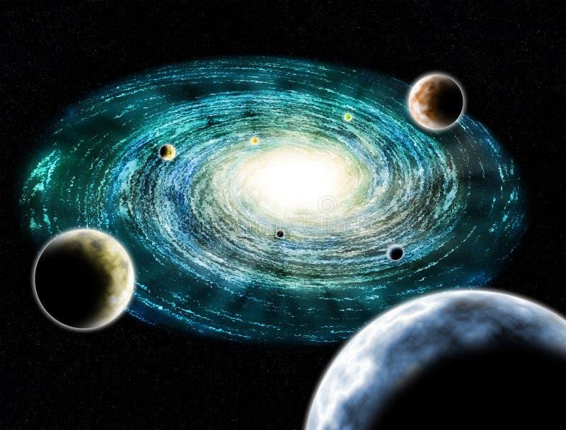 Kall illustration för galaxplanetutrymme royaltyfri illustrationer