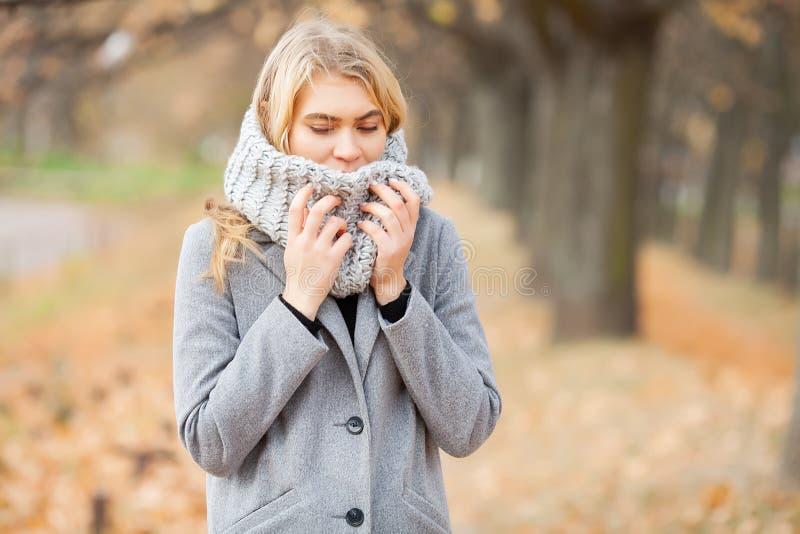 kall influensa Den unga kvinnan i ett gr?tt lag som g?r i h?sten, parkerar och v?rme den djupfrysta handen arkivfoto