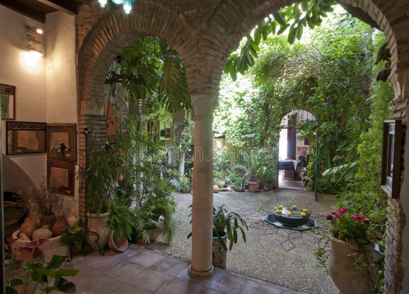 Kall inre borggård i Cordoba, Spanien arkivbilder