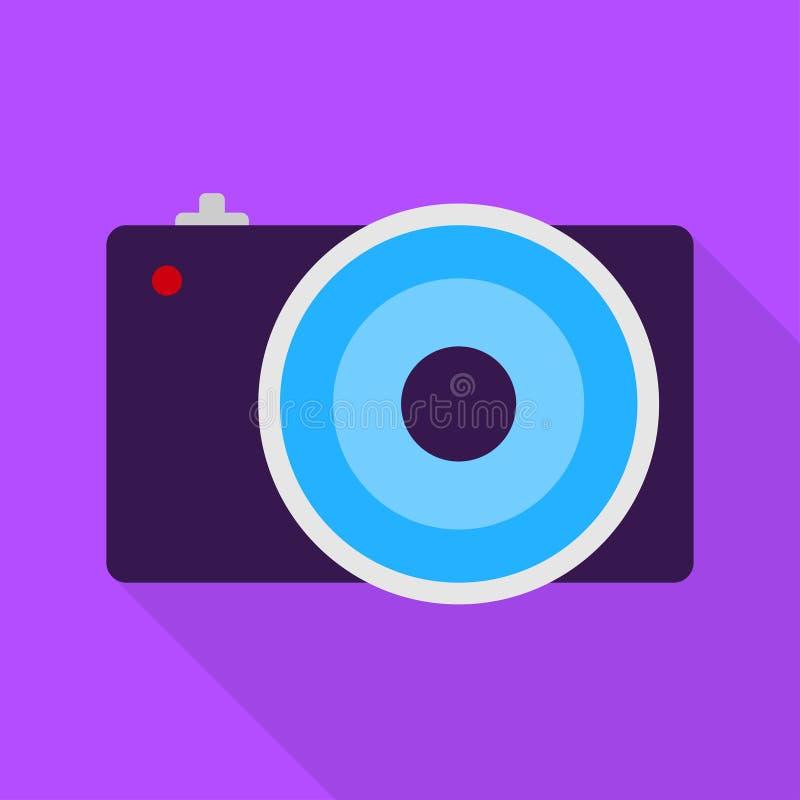 Kall kamera på violett bakgrund Plan design stock illustrationer