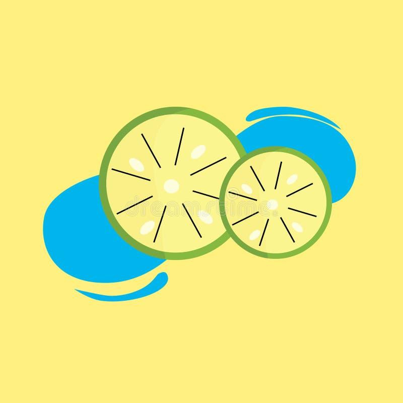 Kall limefrukt p? gul bakgrund vektor illustrationer