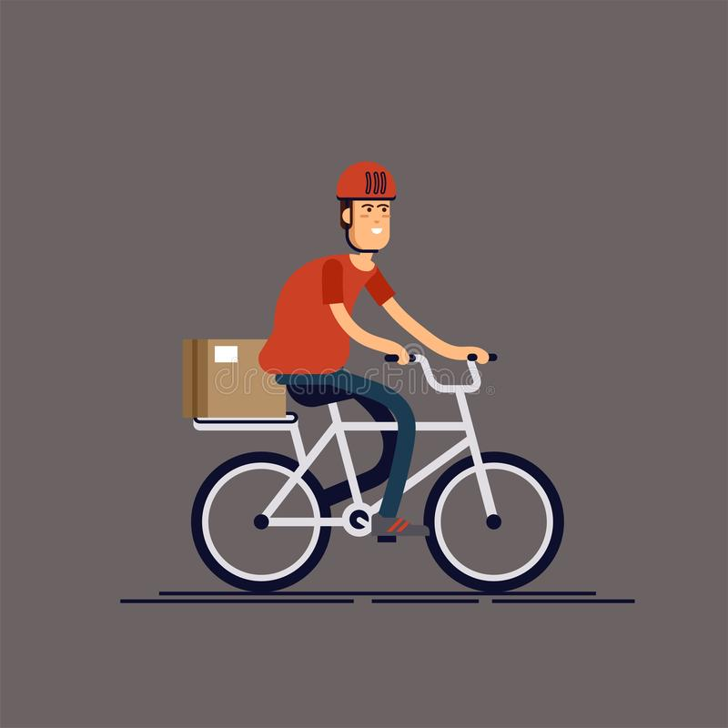Kall manlig cykel för ridning för kurirpersontecken med leveransasken Kurircykelhemsändning Lokal stad royaltyfri illustrationer