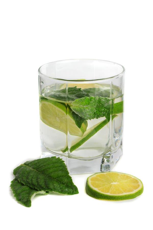 Kall mojitodrink, exponeringsglas av alkohol som isoleras över fruktskivan för vit bakgrund, för ny mintkaramell och limefrukt, m arkivbild