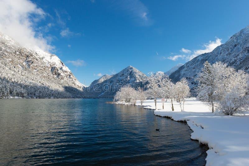 Kall ny alpin sjö i österrikiska berg royaltyfri fotografi