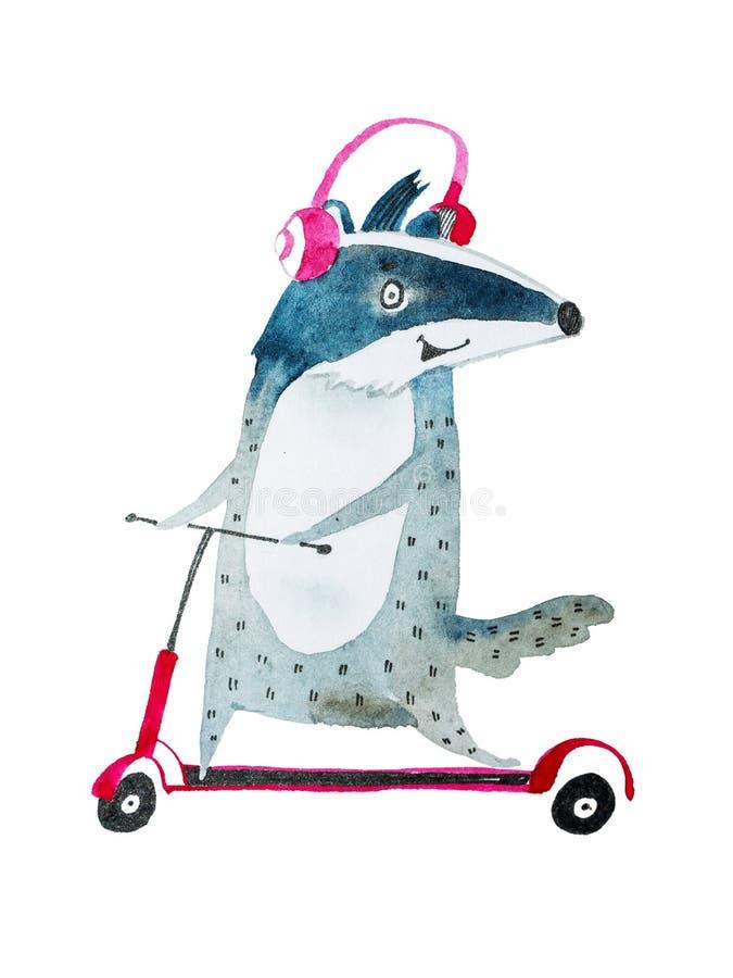 Kall positiv bäverskinn som lyssnar till musik i hörlurar, medan rida på en sparkcykel som hand-dras med aquarellen stock illustrationer