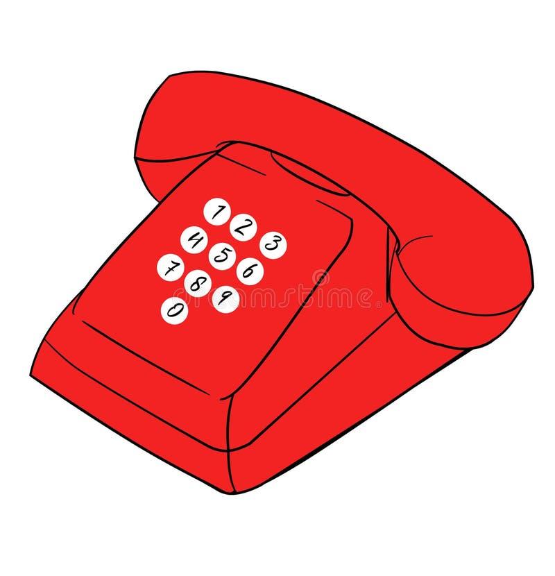 Kall Retro röd telefonillustration vektor illustrationer