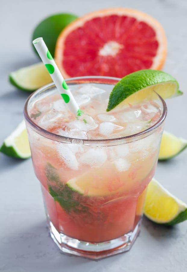 Kall rosa coctail med den ny grapefrukten, limefrukt och is, lodlinje fotografering för bildbyråer