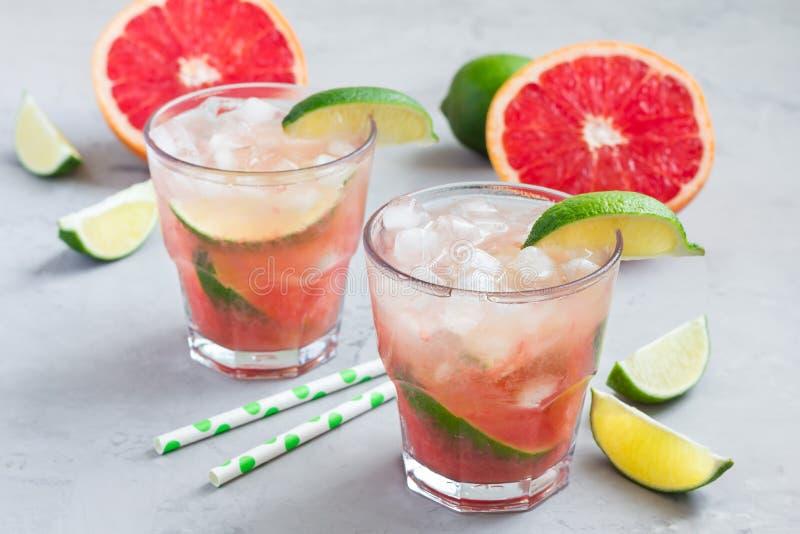 Kall rosa coctail med nya grapefrukt-, limefrukt- och iskuber arkivfoto
