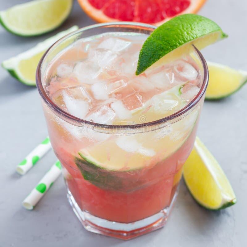 Kall rosa coctail med nya grapefrukt-, limefrukt- och iskuber på konkret bakgrund, paloma, fyrkant royaltyfri bild