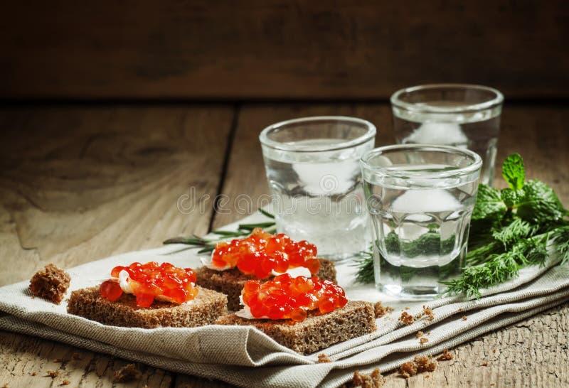 Kall rysk vodka med is och små mellanmål skjuter in med men royaltyfri bild