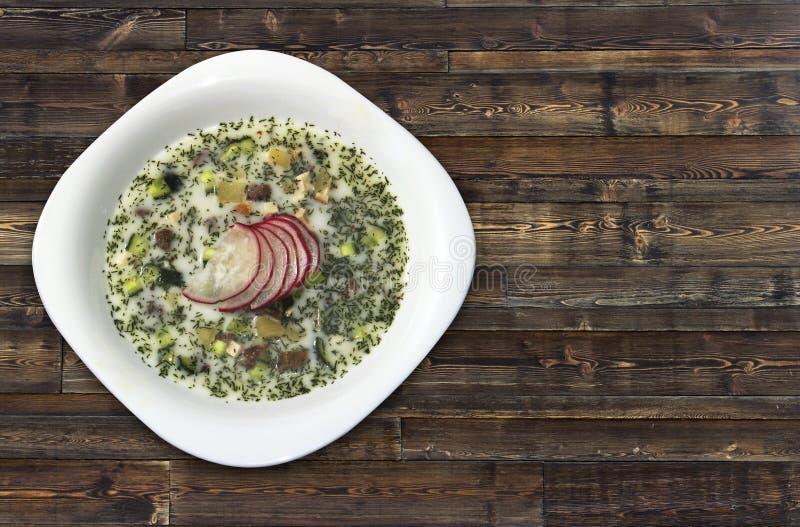 Kall soppa för sommaryoghurt med rädisan, gurkan och dill på bästa sikt för träbakgrund Okroshka arkivfoto