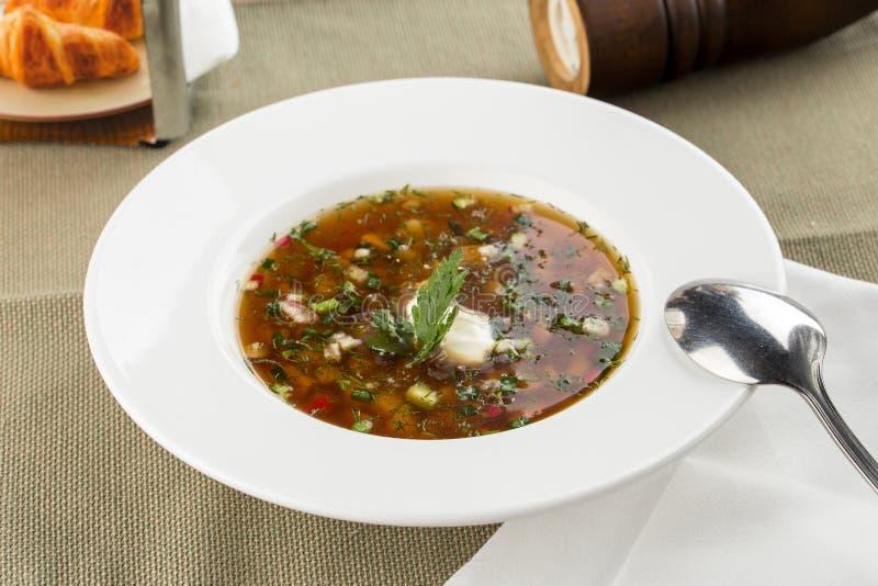Kall soppaokroshka för sommar med rädisan, gurkan och dill på trätabellen arkivfoton