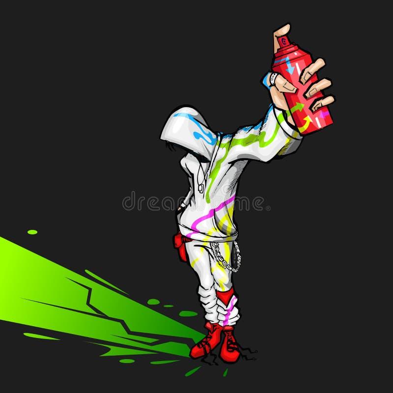 kall spray för grabbholdingmålning stock illustrationer