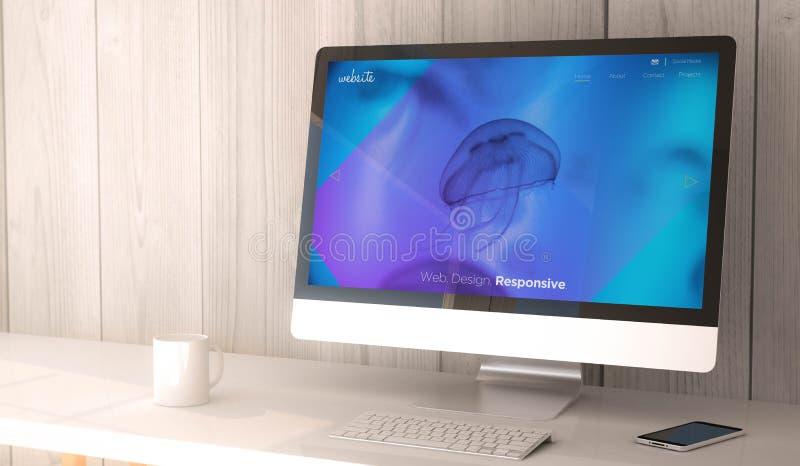 kall svars- websitedesign för skrivbords- dator stock illustrationer