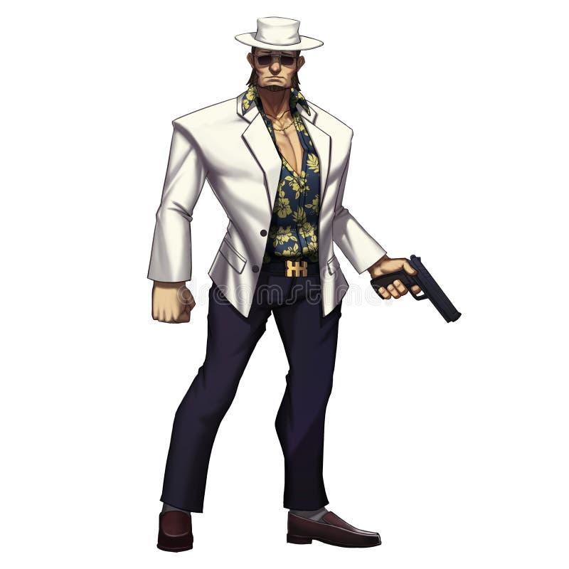 Kall teckenserie: Maffiagangstercowboy Man med vapnet som isoleras på vit bakgrund vektor illustrationer