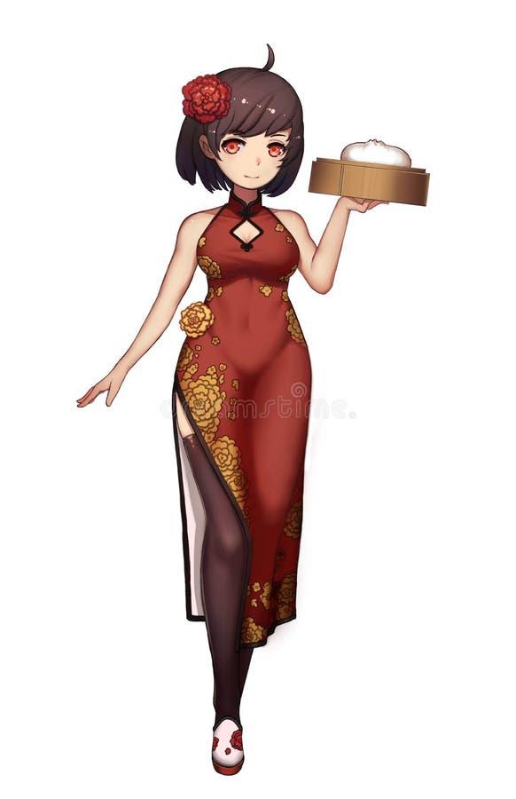 Kall teckenserie: Manga Chinese Girl med slitskjolen som isoleras på vit bakgrund vektor illustrationer