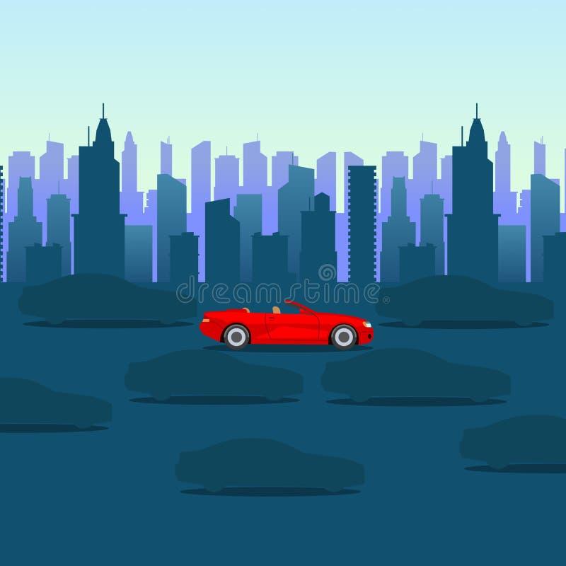 Kall tecknad film-stil röd bil på mörk stadsbakgrund stads- vektor för illustration vektor illustrationer