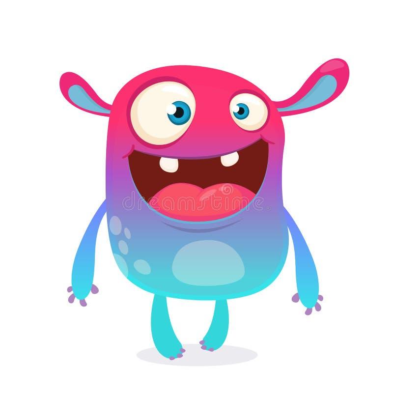 Kall tecknad filmfrämling Färgrikt främmande monster för purpurfärgad och rosa bizzare för allhelgonaafton också vektor för corel royaltyfri illustrationer