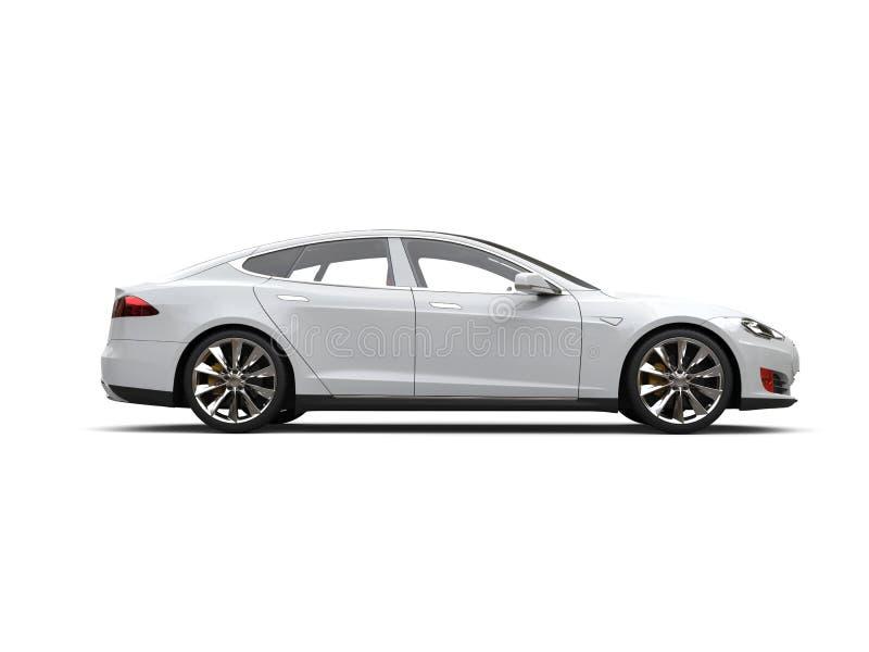 Kall vit modern elektrisk sportbil - sidosikt royaltyfri illustrationer