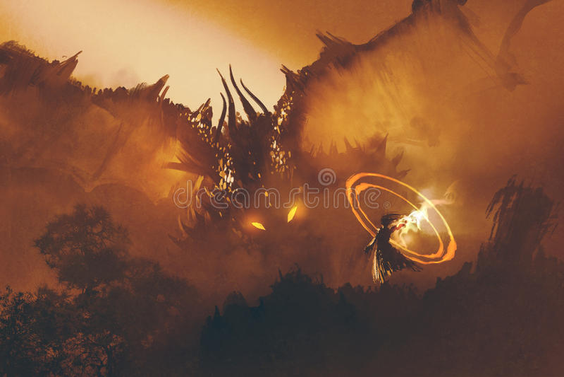 Kalla av draken, digital målning royaltyfri illustrationer