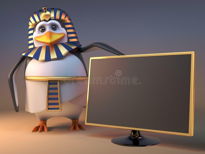 Kalla för pingvinfarao för tecknad film 3d egyptiska Tutankhamun punkter till den nya televisionen, illustration 3d royaltyfri illustrationer