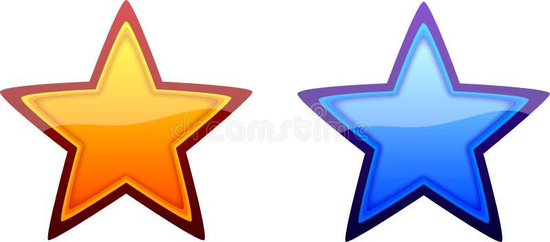 kalla glansiga varma stjärnor royaltyfri illustrationer