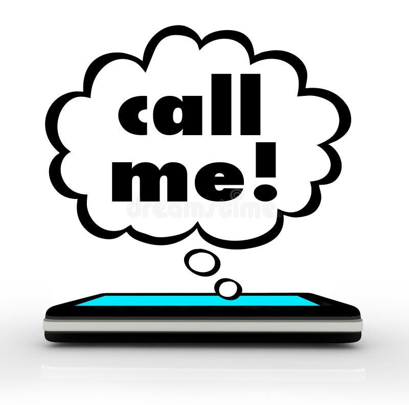 Kalla mig anslutning för kommunikationen för ordmobiltelefontelefonen royaltyfri illustrationer