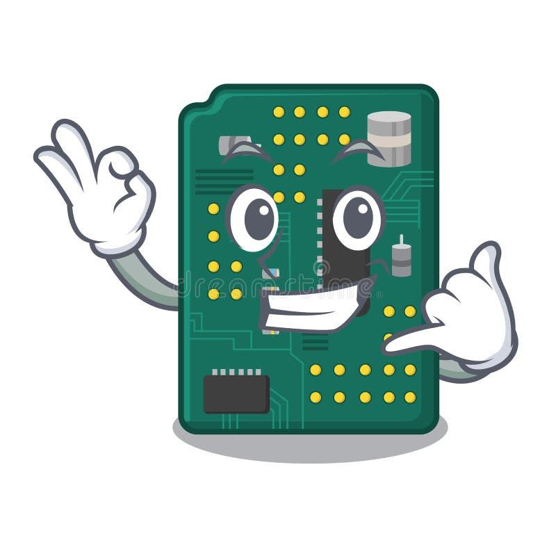 Kalla mig PCB-str?mkretsbr?det i tecknade filmen stock illustrationer