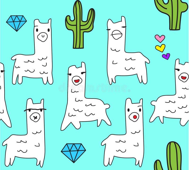 Kalla och gulliga lamadjur med diamantkaktuns och mycket små hjärtor i aquabakgrund royaltyfri illustrationer