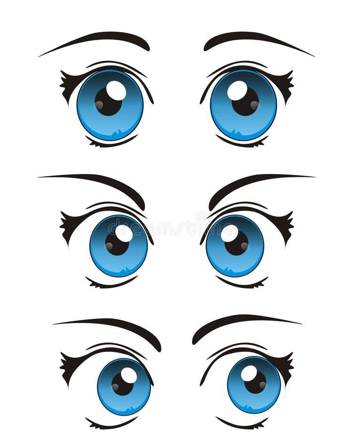 Kalla realistiska tecknad filmögon för vektor stock illustrationer