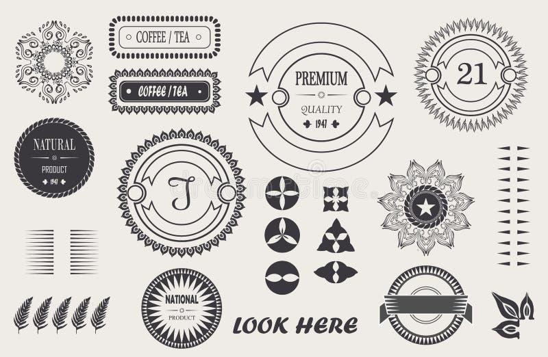 Kalla tappningbeståndsdelar för vektor för din design, barock ram, logo, etiketter, ramar med häftet royaltyfri illustrationer