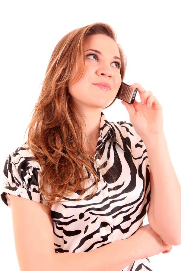 kalla telefonkvinnan royaltyfria bilder