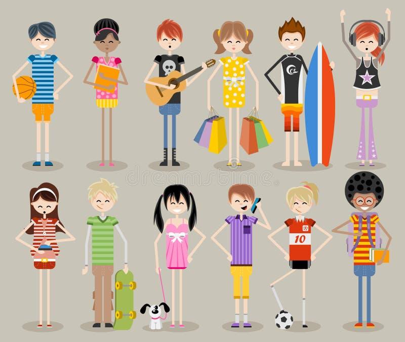 Kalla tonåringar vektor illustrationer
