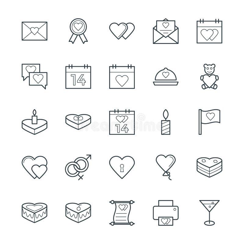 Kalla vektorsymboler 1 för förälskelse & för romans stock illustrationer