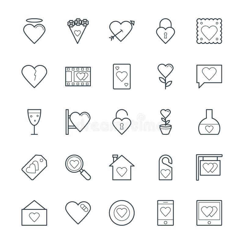 Kalla vektorsymboler 2 för förälskelse & för romans vektor illustrationer