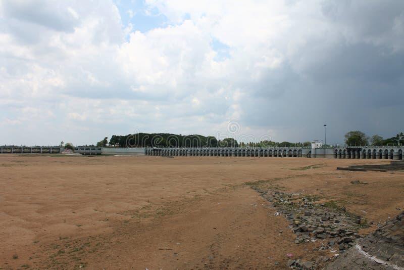 Kallanaidam een oude dam in Tiruchirappalli, Tamil Nadu, India royalty-vrije stock afbeelding