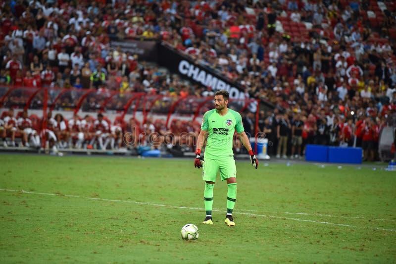 Kallang新加坡26Jul2018 :Atletico m的安东尼奥adan 1个球员 免版税图库摄影
