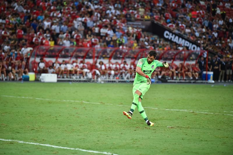 Kallang新加坡26Jul2018 :Atletico m的安东尼奥adan 1个球员 库存图片