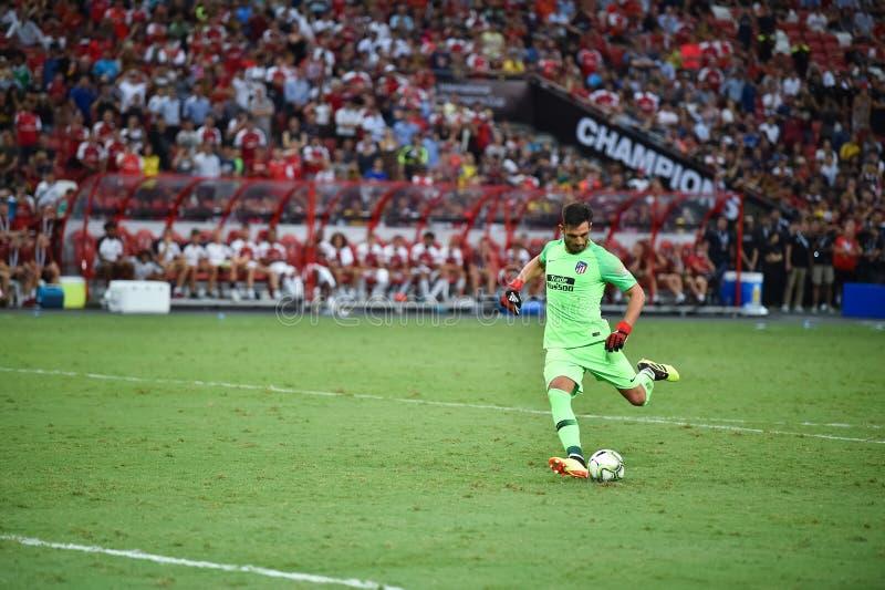 Kallang新加坡26Jul2018 :Atletico m的安东尼奥adan 1个球员 免版税库存照片