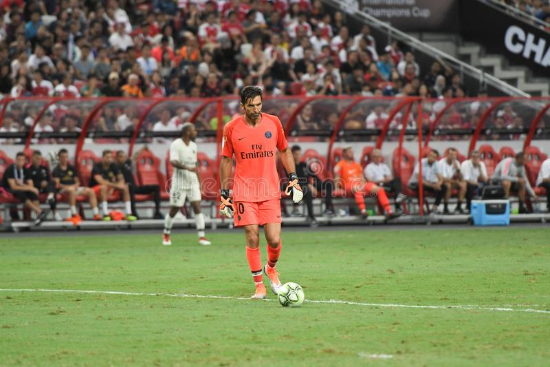 Kallang-Σιγκαπούρη 28 Ιουλίου 2018: Φορέας του Gianluigi Buffon 30 PSG ι στοκ εικόνες