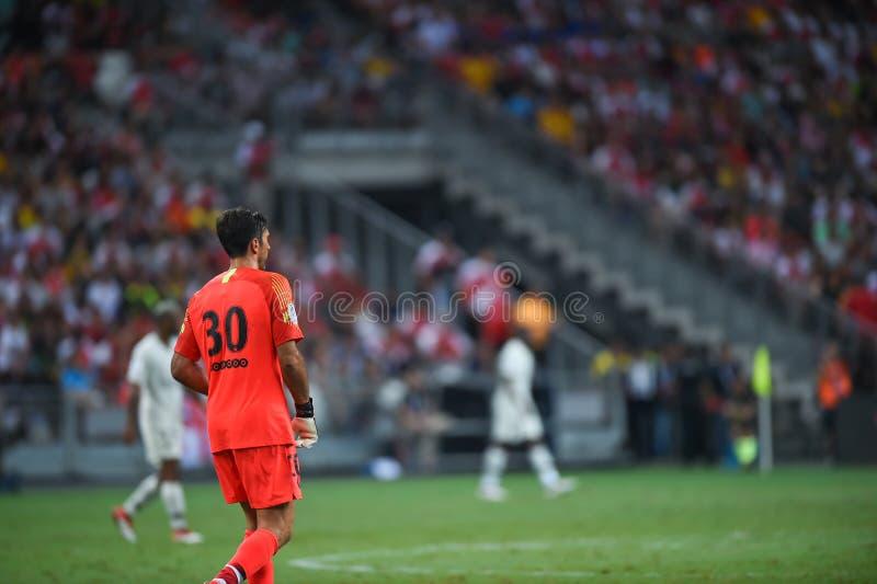 Kallang-Σιγκαπούρη 28 Ιουλίου 2018: Φορέας του Gianluigi Buffon 30 PSG ι στοκ φωτογραφίες